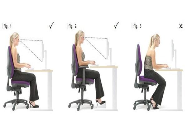 Điều chỉnh khuỷu tay tạo tư thế ngồi thoải mái cho người làm
