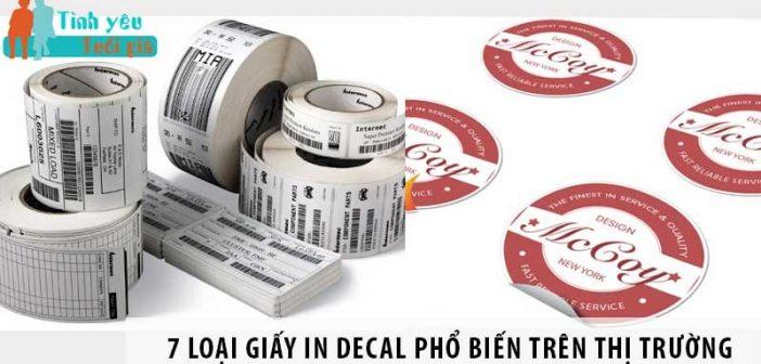 7 loại giấy in decal phổ biến trên thị trường
